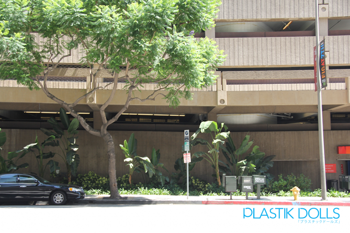 Just outside the valet area of the Westin Bonaventure Hotel. Take a look at the tree across the street in the photograph. It looks very familiar to the anime version.