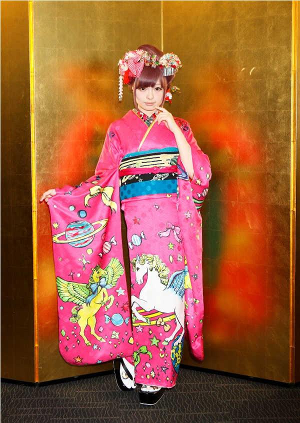 Kyary Pamyu Pamyu wearing her Coming of Age Day kimono.