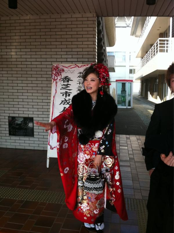 SCANDAL's RINA on her Coming of Age Day wearing a furisode