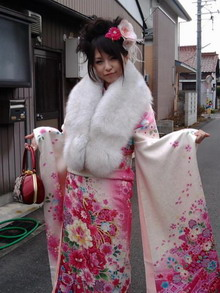 SCANDAL's HARUNA on her Coming of Age Day wearing a furisode